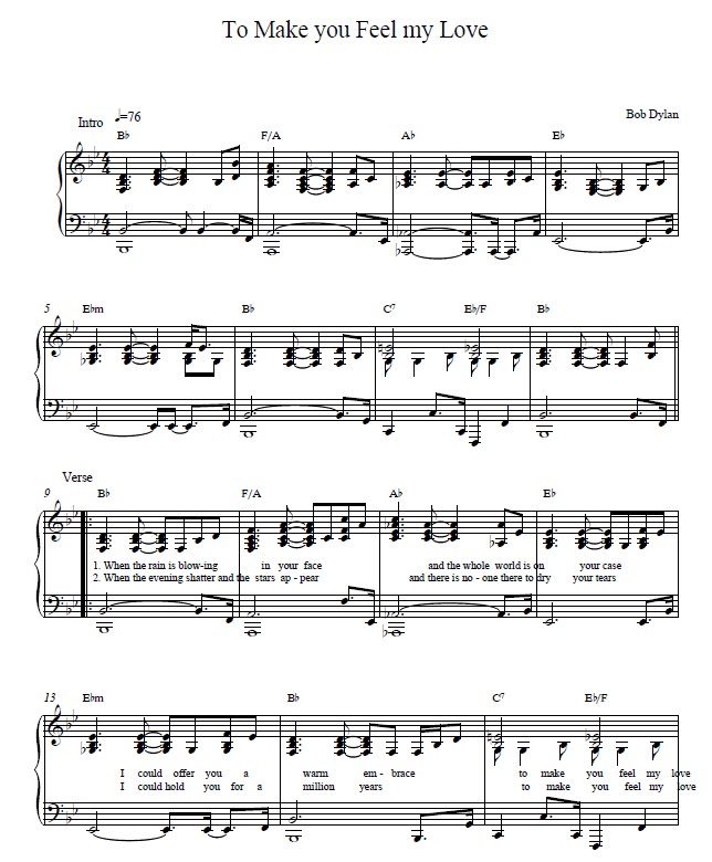 To make you feel my love piano sheet