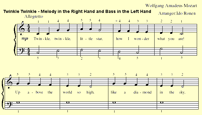 Playing The Melody Of Twinkle Little Star With Right Hand And Bas