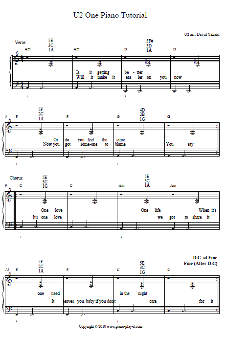 U2 one 1 Piano Tab
