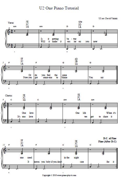 U2 one 1 Piano Tab