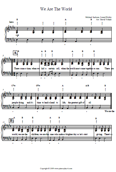 Michael Jackson We Are The World Piano Tab.