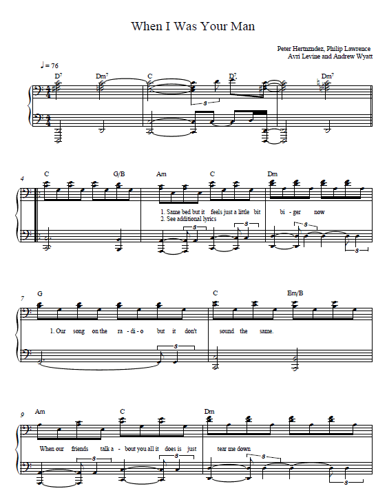 When I was your man Piano Tab