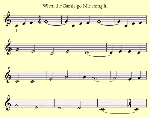 An example of an incompleate measure in the song When the Saints go Marching In