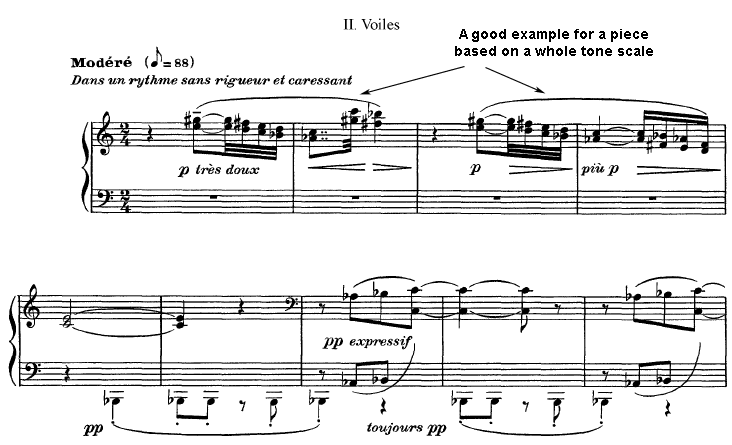 The whole tone scale in a the second prelude for piano by Debussy