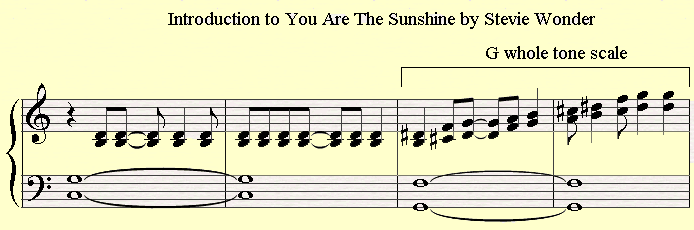 The Intro of You Are The Sunshine of My Life by Stevie Wonder has a Whole Tone Scale in the Beginning