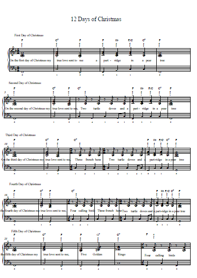 12 Days of Christmas Piano Tab