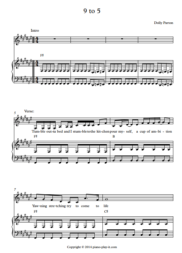 9 to 5 Piano Sheet