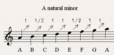 The order of the sequence of whole tone and half tone in a minor scale.