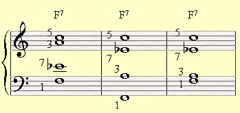 Three options of making shell voicings on a F7 chord.