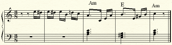 The opening of Fur with the left hand suggesting an harmonic structure.