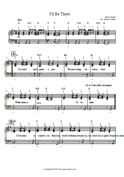 Michael Jackson I'll be There Piano Tab.
