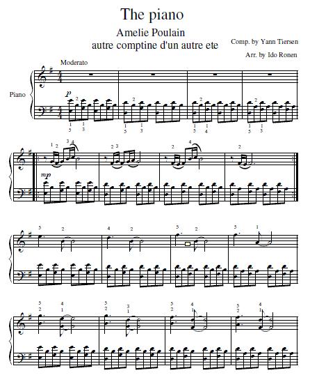 Amelie Soundtrack Piano Sheet Music (Original Version).