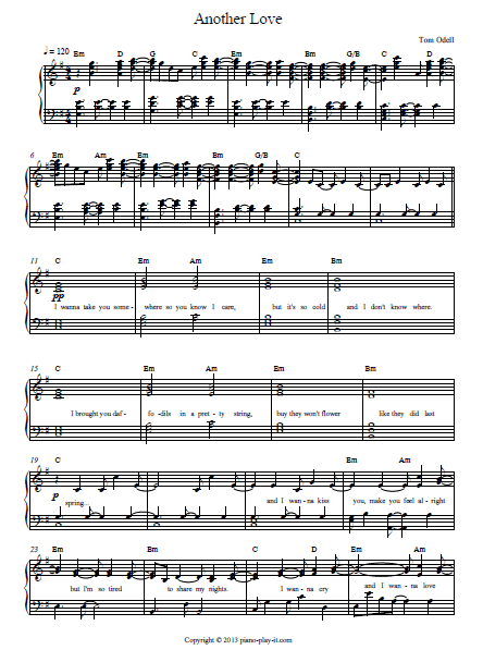 Another Love Tom Odell Piano sheet
