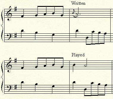 Appoggiatura in a musical piece.