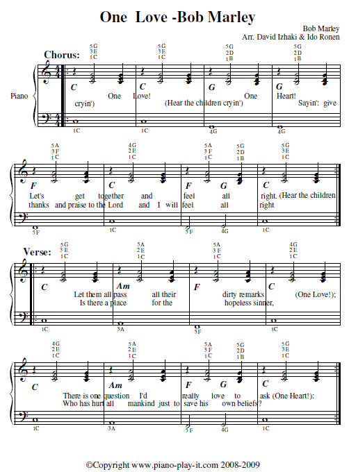 Bob Marley One Love Piano Tab