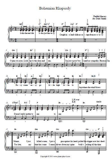 Queen Bohemian Rhapsody Piano Tab Piano Tab