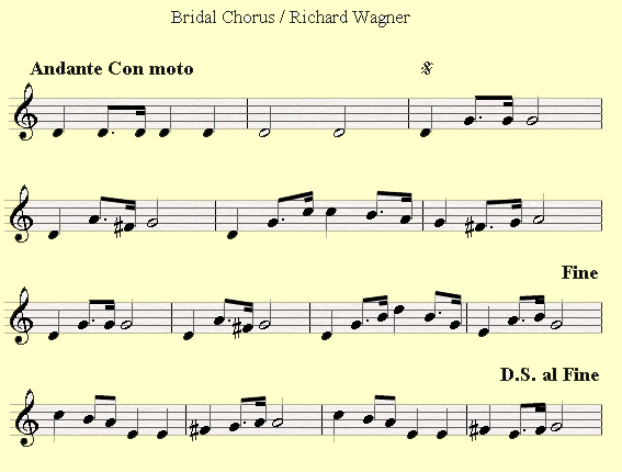 An example of a D.S al Fine sign in Bridal Chorus