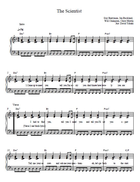 Free Coldplay Clocks Piano Sheet Music