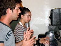 Exaplaining piano keys to Noam
