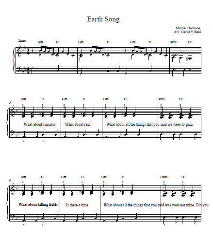 Earth Song Michael Jackson Piano Tab