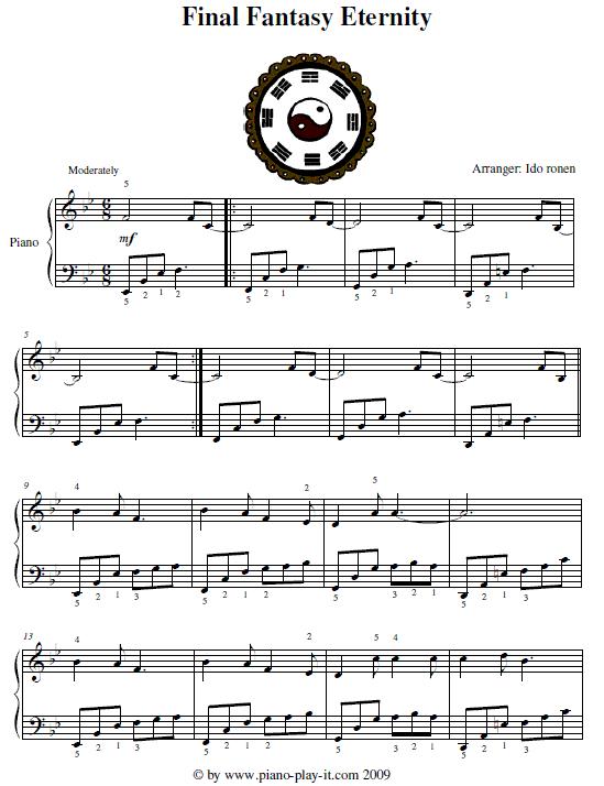Free Final Fantasy Piano Sheet Music - Eternity