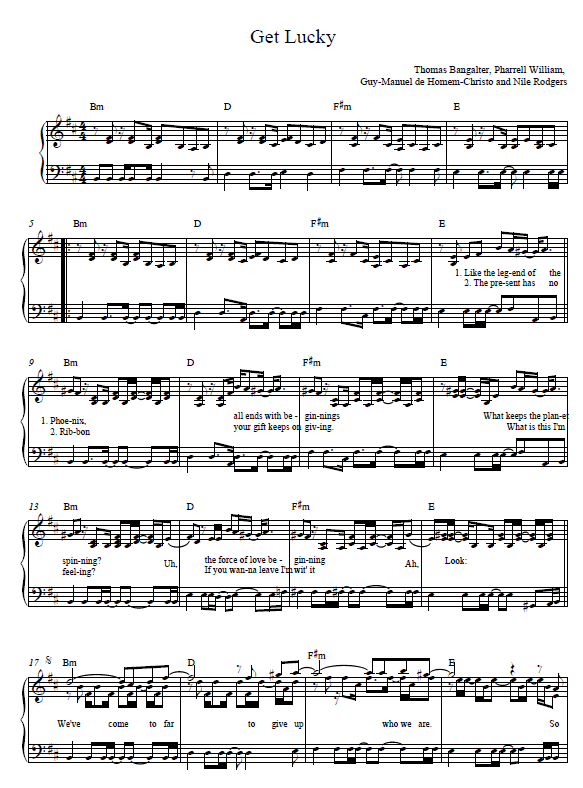 Get Lucky Piano Sheet Music by Daft Punk