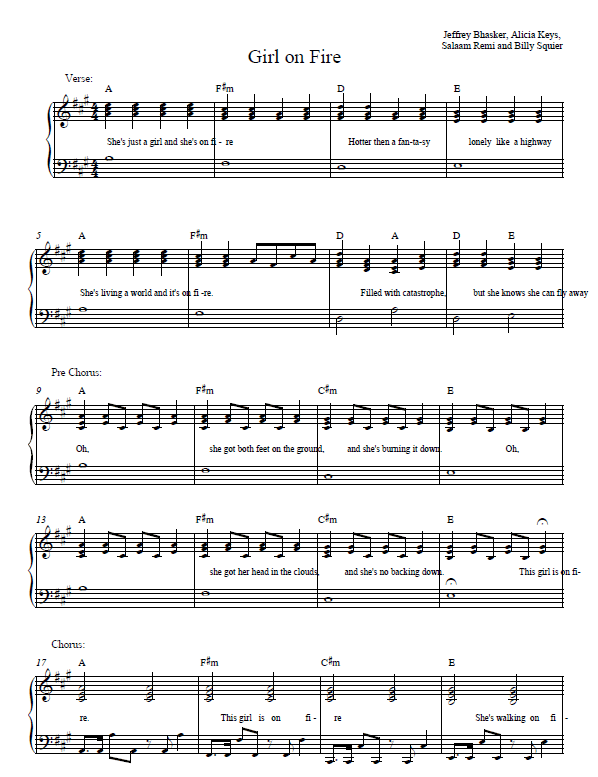 Girl on Fire Piano Sheet