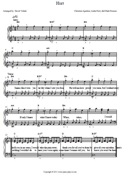 Hurt Christina Aguilera Piano Tab