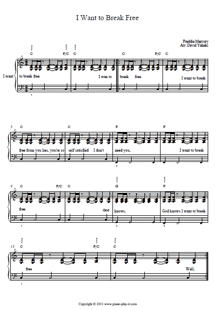 I Want To Break Free Queen Piano Tab