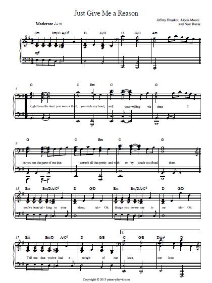 Just give me a reason Piano sheet
