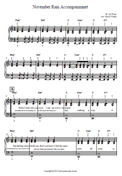 November Rain Piano Sheet Guns n Roses