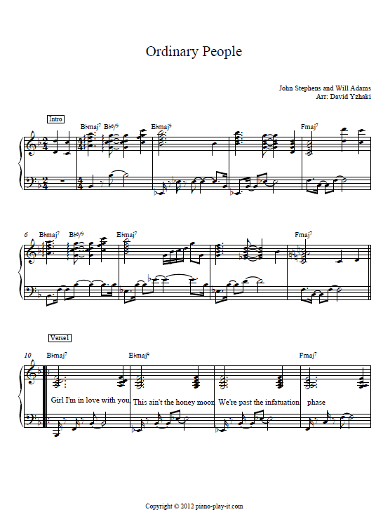 Ordinary People John Legend piano sheet