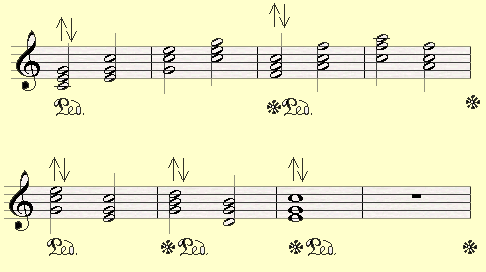 A piano pedal exercise, working on combining the sustain effect of a few chords.