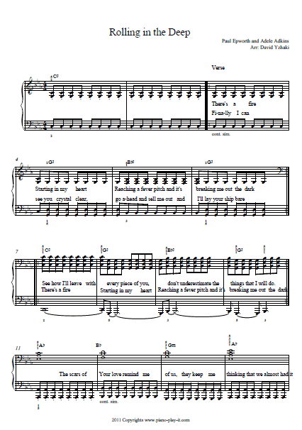 Rolling in the Deep Piano Tab