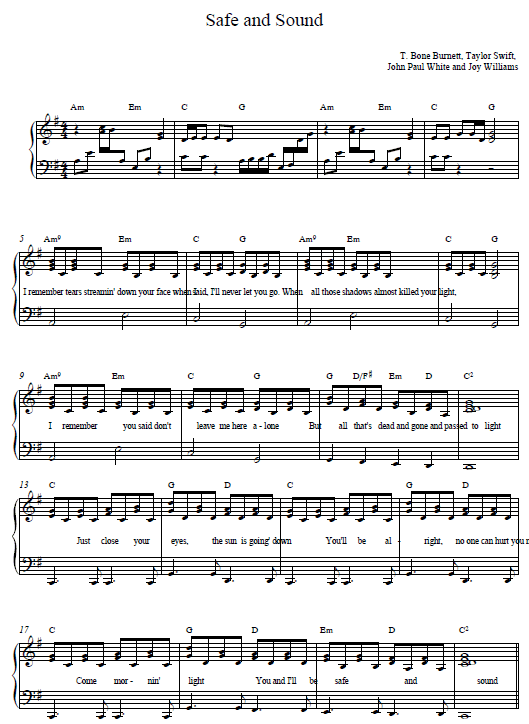 Safe and Sound Taylor Swift Piano Tab