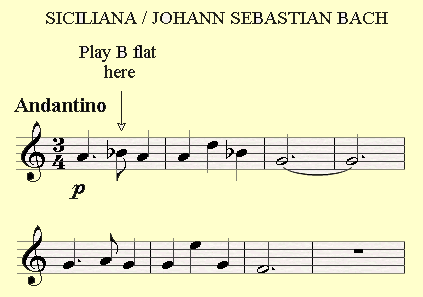 Siciliana by Bach has a Bb in the melody.