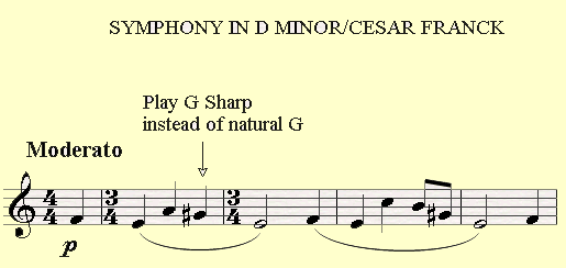 The Symphony in D minor by Cesar Franck has a G sharp in the melody of the openning theme.