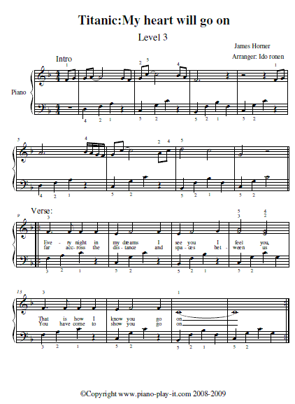 Free Titanic Piano Sheet Music
