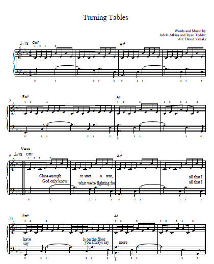 Turning Tables Adele Piano Tab