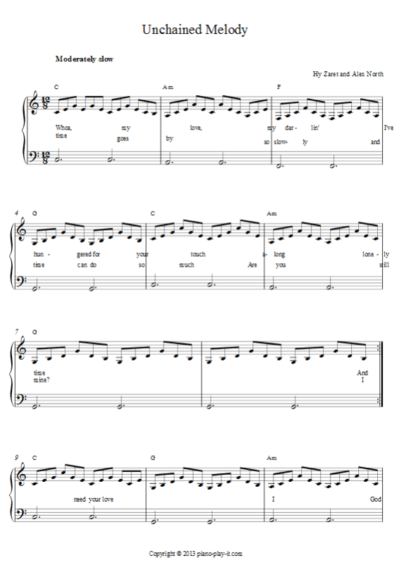 Unchained Melody Piano Sheet.