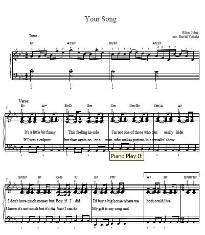 Elton John Your Song Piano Tab