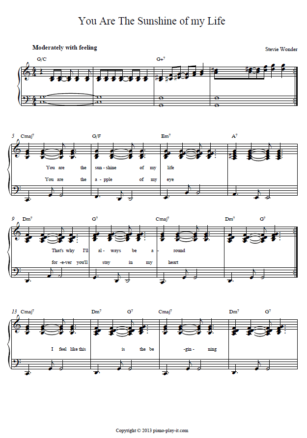 You are the Sunshine of my Life Piano Tab