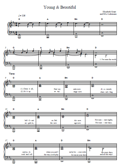 Young and Beautiful Lana Del Rey Sheet Music